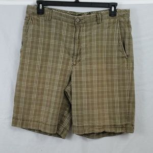 Tommy Bahama Shorts/Flat Front/Plaid/Brown/Size 36